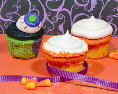 Halloween Candy Corn and Monster Cupcakes