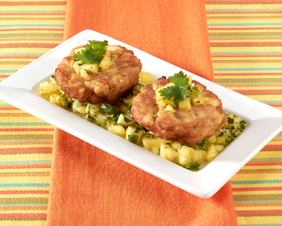 Hearts of Palm Cakes with Pineapple Salsa