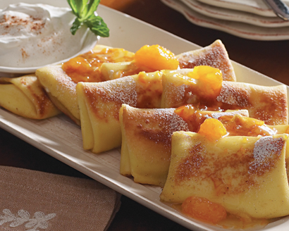 Cheese Blintzes with Apricot Sauce