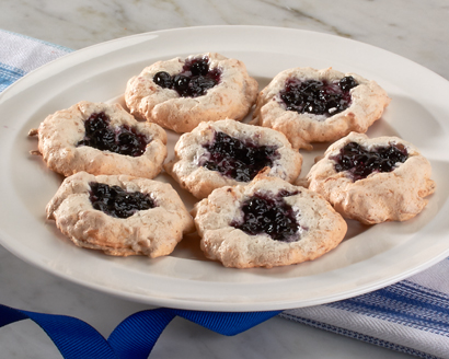 Thumbprint Macaroons with Blueberry Jam