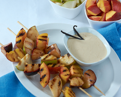 Grilled Fruit Skewers with Creamy Fruit Dip
