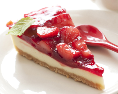 White Chocolate Cheesecake with Strawberry Topping