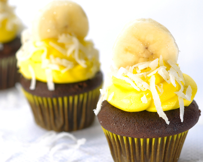 Chocolate Banana Coconut Mini Cupcakes