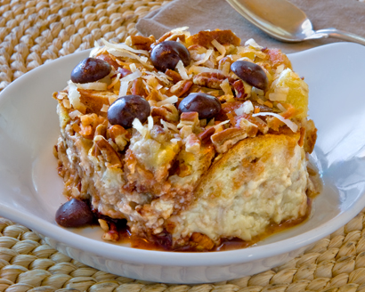 Coconut Pecan Chocolate Bread Pudding