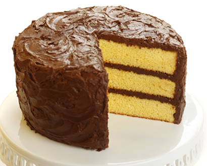 Yellow Pound Cake With Chocolate Icing