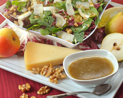 Winter Green Salad with Pears and Apple Cider Vinaigrette