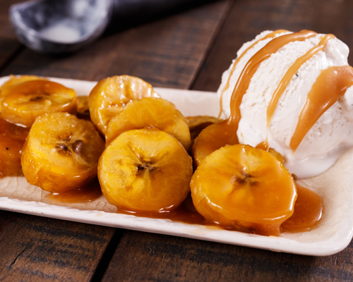 Foil Grilled Plantains with Ice Cream & Caramel Sauce