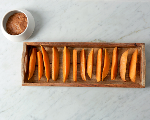 Roasted Sweet Potatoes with Sweet Maple Tahini Dipping Sauce