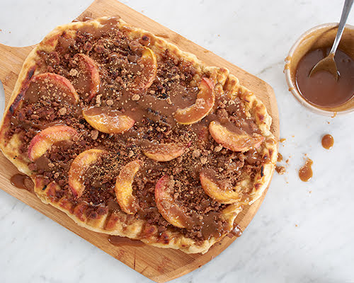 Grilled Peach Pizza with Bourbon Caramel Sauce