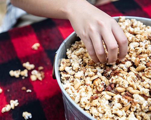 Honey Butter and Candied Bacon Popcorn