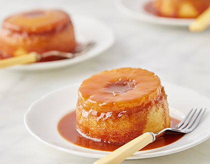 Pineapple Upside-Down Cakes with Rum Caramel Sauce