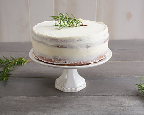 Vanilla Rosemary Cake with Lemon Curd Filling and Lemon Butter Cream Frosting