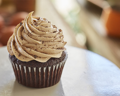 Chocolate Cupcakes with Golden Coffee Buttercream