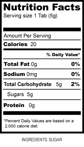 Sugar Tablets Nutritional Information